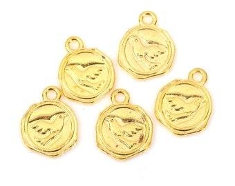10 Gold Plated BIRD WAX SEAL Charm Pendants, stamped wax seal design on both sides, chg0395