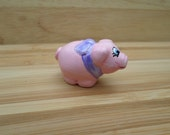 Miniature pig, pink pig figurine, animal totem, paper clay sculpture