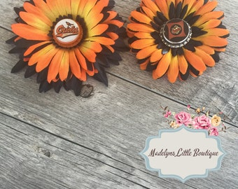 baltimore orioles bottle cap flower