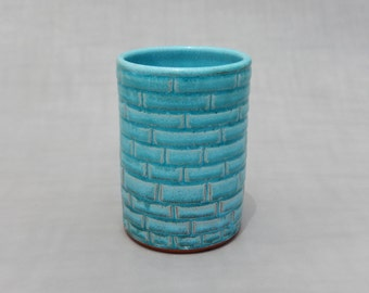 16 oz Pottery Cup  - Turquoise Ceramic Tumbler