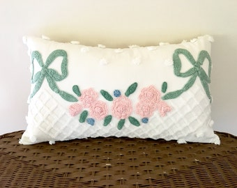 pink pillow cover ROSES AND BOWS 12 X 20 pink cushion cover cottage chic shabby style
