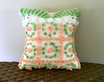 Orange and green pillow cover CITRUS TANGO 12 X 12 cushion cover beach cottage chic style pillow case, citrus pillow sham, green polka dot