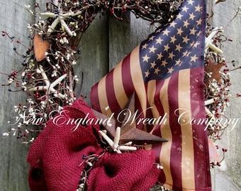 SUPER SALE Americana Wreath, Patriotic Wreath, 4th of July, Beach Wreath, Nautical, Coastal Wreath, Patriotic Beach, Shell Wreath, Tea Stain