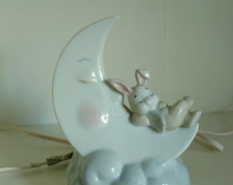 Vintage adorable night light - bunny on moon