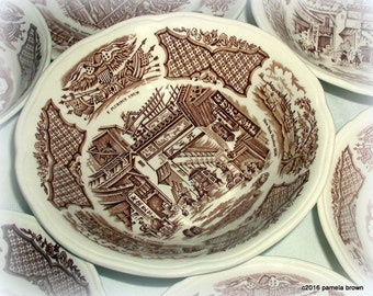 Vintage Staffordshire Fair Winds Cereal Bowl Brown and White Nautical Historical English Transferware Serving Bowl