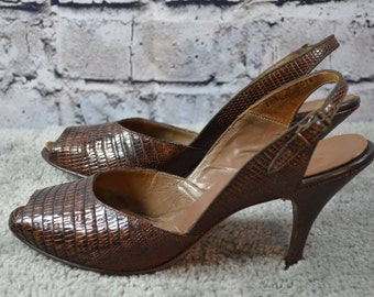 vtg 1940s COUTURE brand reptile skin slingback peep toe heels 8.5N narrow - 40s peeptoe - reptile slingback