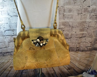 SALE vintage snakeskin reptile patchwork shell purse handmade in Phillipines