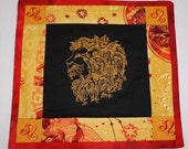 Astrological Mini Quilt - Leo - Altar piece, Ritual, Wiccan, candle mat, wallhanging