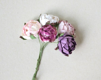30  mm   / 5 Mixed colors Paper  Rose Buds