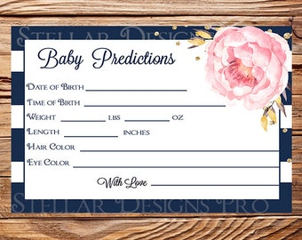 Baby predictions instant download, predictions pink peonies, navy stripes, baby predictions instant download card, 1706