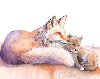 Foxes watercolour painting print, A4 size, F7716, Fox print, foxes watercolor, fox watercolor, woodland animal print, Nursery art