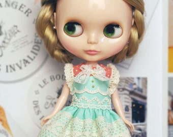 Mint candy Dress - for Blythe, MocaPinoRu, Mary&Ann - doll outfit - by kreamdoll