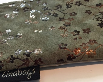 Sage Faux Suede with Copper Flowers