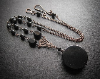 Scrying Mirror Gothic Victorian Witch Necklace.  Doctor Dee's Mirror