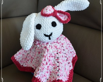 Knitted baby blanket, bunny rabbit - girl, toy.