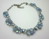 LISNER Necklace - Lisner Lava Rhinestone Necklace - Blue Necklace - Vintage Jewelry Necklace
