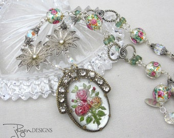 Assemblage Necklace Rose Flower Necklace Rhinestone Necklace Pink Rose Venetian Beads Silver Flower Repurposed Jewelry Unique Long Necklace