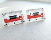 Cassette Tape Stud Earrings Nostolgic 80's, Fun Studs