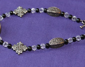 Black, Clear and Silver Goth Bracelet