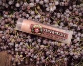 Herbal Lip Balm ELDERBERRY Organic Elder Flower and Berry .15 oz stocking stuffer