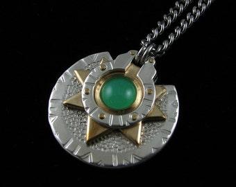 Handmade Silver and Brass Chrysoprase Medallion