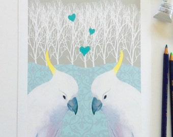 cockatoo print, bird print, love birds, giclee print, Australian bird, cockatoos in love