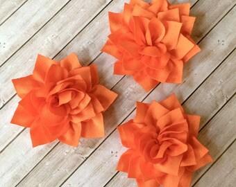 "Orange Fabric Flowers Soft Poinsettia Flowers 3"" -7cm Kanzashi DIY Baby Headband Supplies Wholesale flowers embellishment applique Lotus"