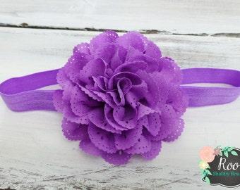 Purple Eyelet Flower Baby Toddler Girls Headband - Flower Headband - Infant Girl Headband - Special Occasion - Wedding - Baby Photos
