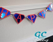CUSTOM Super Hero Birthday Banner - I Am 1, Name, Happy Birthday in ANY color combination - Party Decoration, Bunting, High Chair Garland