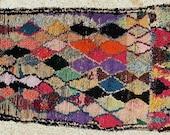 FREE SHIPPING WORLDWIDE T22091 vintage boucherouite rug, moroccan rugs , rag rug, berber tribal art, morocco carpets, wall art