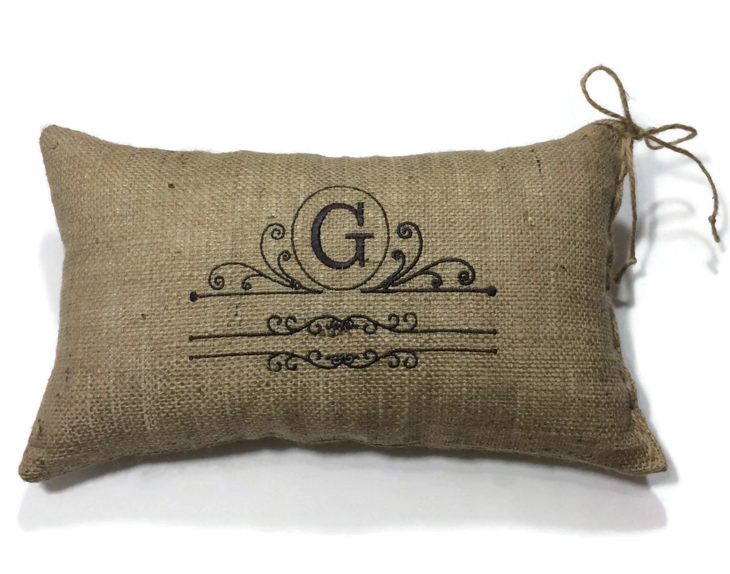 Throw Pillow Insert Sizes : Monogram Burlap Decorative Throw Pillow with insert size 9 inch x 14 inch - Custom Made ...