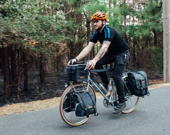 Small Black, Southern Tier Randonneur, waxed canvas bicycle bag