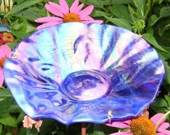 BIRD BATH, Stained Glass, IRIDESCENT Cobalt Blue, Copper Art, Outdoor Living, Garden Decor, Bird Feeder, Garden Suncatcher
