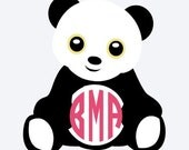 Panda Decal, Monogram Decal, Panda Sticker, Personalized Panda Decal, Vinyl Decal, Car Decal, Vinyl Sticker, Yeti Decal, Wall Decal
