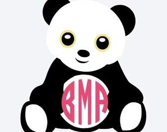 Panda Decal, Monogram Decal, Panda Sticker, Personalized Panda Decal, Vinyl Decal, Car Decal, Vinyl Sticker, Yeti Decal, Wall Decal
