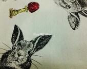 Big rabbit and mushroom, on ivory, 1/2 yard, pure cotton fabric