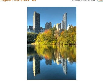 SALE 20% OFF New York Photograph, Central Park Pond, Autumn, Fall Foliage, Reflection, Blue, Yellow, Gold, Skyscrapers, Art Print, Home Deco