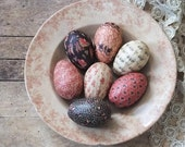 Easter Eggs Bowl Fillers, Pink and Brown, Shabby Cottage, Colonial Farmhouse Country Decor, Easter Decoration