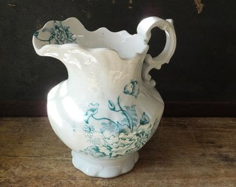 Vintage Teal Green Transferware Pitcher Aged Imperfections Shabby,Cottage, Farmhouse Decor