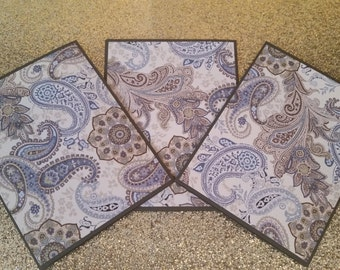 Set of 3 blue paisley note cards, set of note cards, masculine note cards, paisley note cards, blue note cards, set of 3, blank set of cards