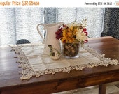 ON SALE Vintage Table Topper, table linens, small square tablecloth, white with crocheted edges