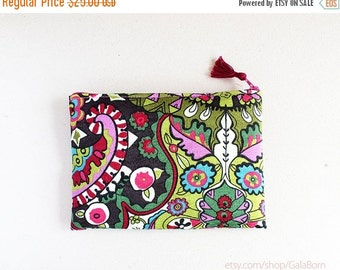 SALE -40% Oriental pouch - Bright - Padded pouch - Anti stain fabric - Green Pink Brown