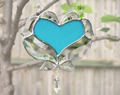 Turquoise Heart Stained Glass Suncatcher