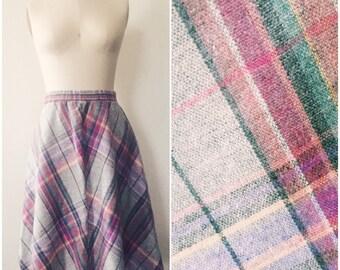 Vintage 1980s Mauve Plaid Skirt Size Small