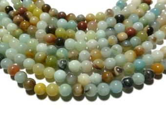 Flower Amazonite - 6.5mm Round Bead - 58 beads - Full Strand - Multicolor Mixed Color Blue Ocean - colorful stone