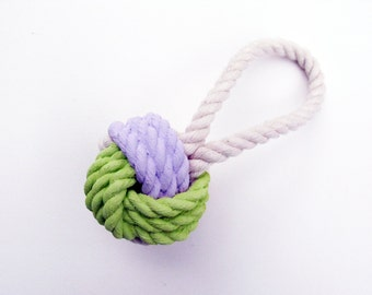 Lavender & Yellow Painted Monkey's Fist Knot - Ornament