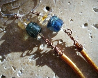 Citrine, Moss Teal Basha Bead, Gold Coral, Sterling Silver, Dangle earrings. Ships Free in US