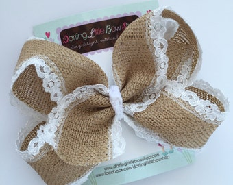 """Burlap Bow -- burlap and lace large 6-7"""" bow -- burlap look perfect for Autumn and Christmas outfits"""