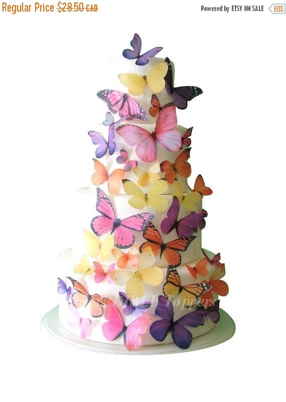 CHRISTMAS in JULY SALE Butterfly Cake, Birthday Cake Topper - The Audrey 30 Edible Butterflies - Wedding Cake Decorations, Edible Cake Decor