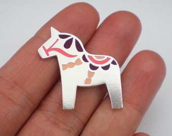 DALA HORSE BROOCH / Polymer clay and sterling silver Dala Horse brooch / Dala Horse pin